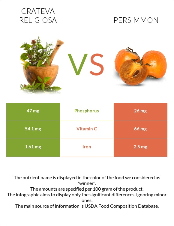 Crateva religiosa vs Persimmon infographic