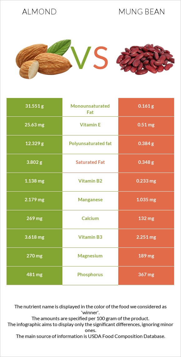 Almond vs Bean infographic