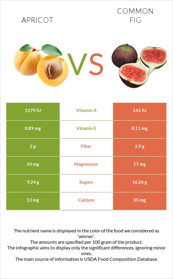 Apricot vs Common fig infographic