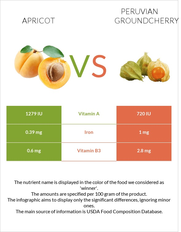 Apricot vs Peruvian groundcherry infographic