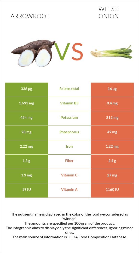 Arrowroot vs Welsh onion infographic