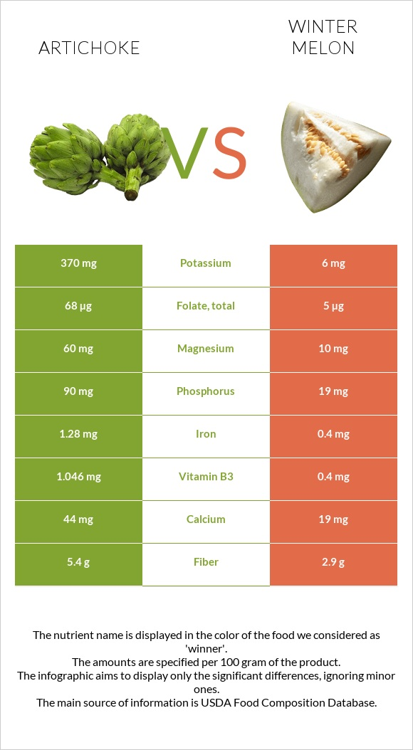 Artichoke vs Winter melon infographic