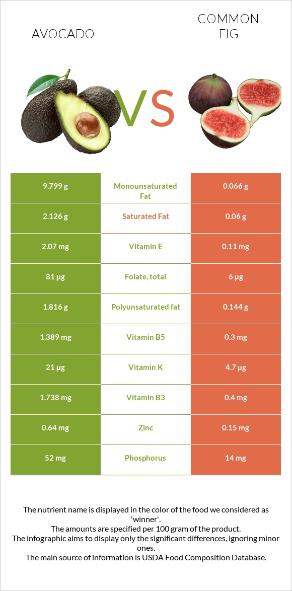 Avocado vs Common fig infographic