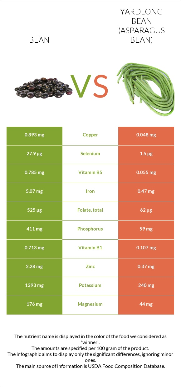 Bean vs Yardlong bean infographic