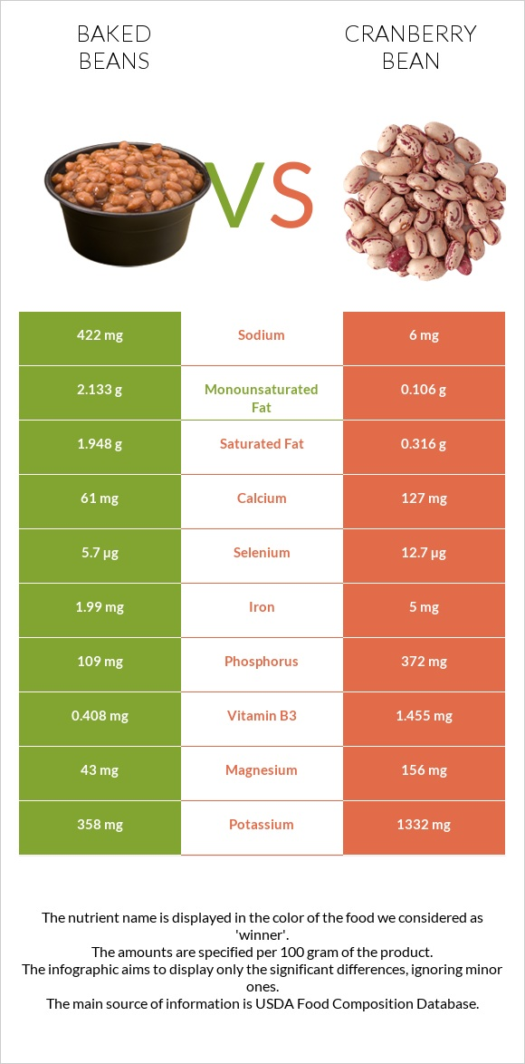 Baked beans vs Cranberry bean infographic