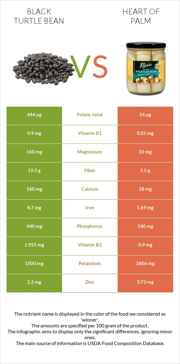 Black turtle bean vs Heart of palm infographic