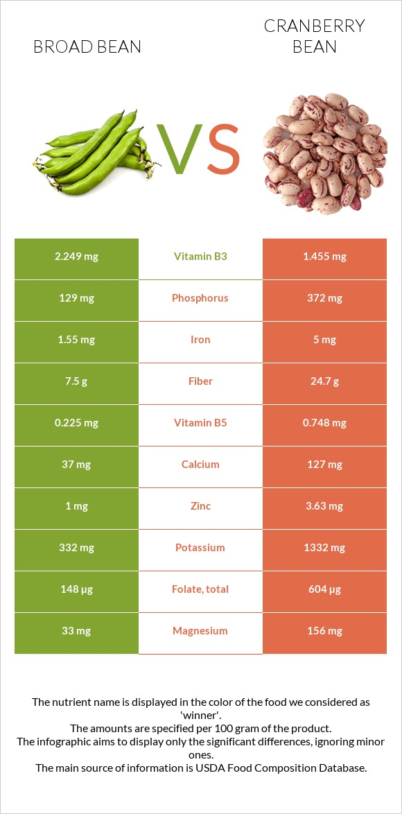 Broad bean vs Cranberry bean infographic