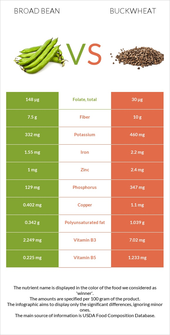Broad bean vs Buckwheat infographic