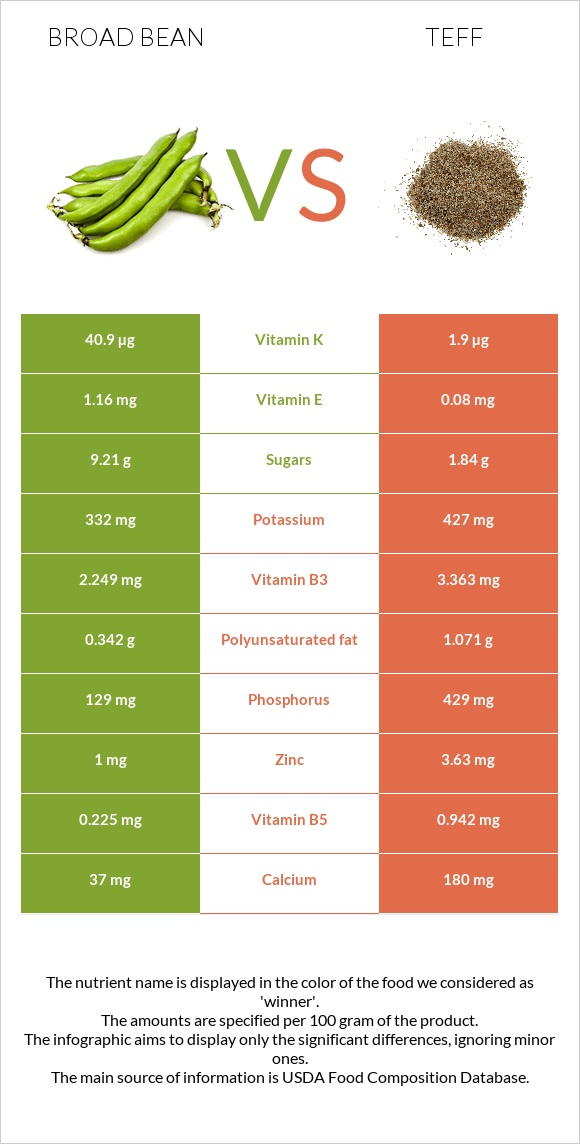 Broad bean vs Teff infographic