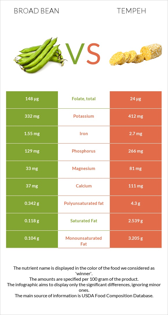 Broad bean vs Tempeh infographic