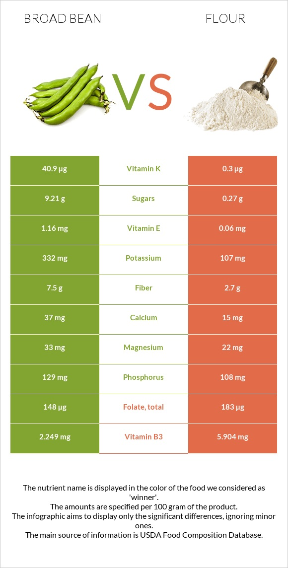 Broad bean vs Flour infographic