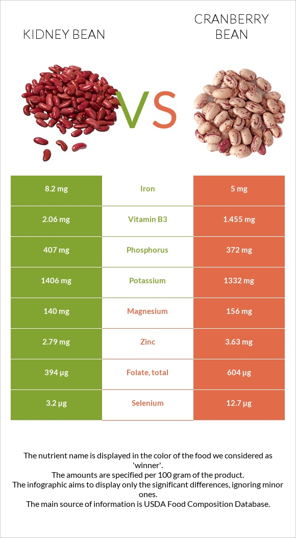 Kidney bean vs Cranberry bean infographic