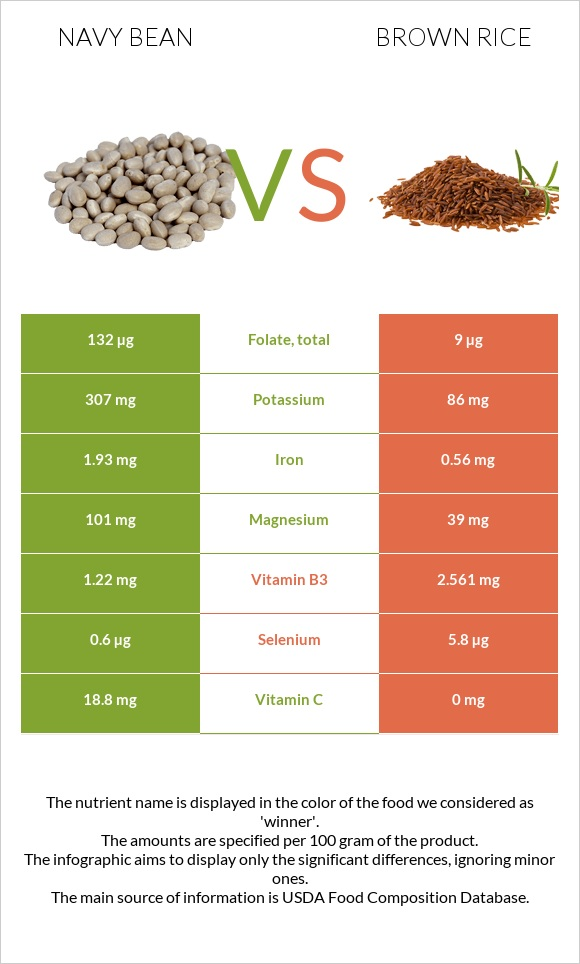 Navy bean vs Brown rice infographic