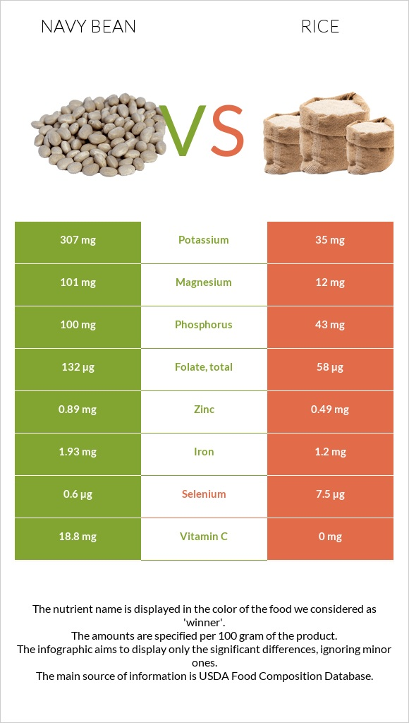 Navy bean vs Rice infographic