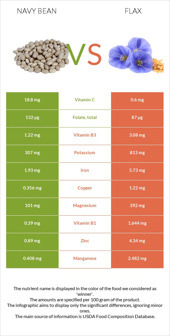 Navy bean vs Flax infographic