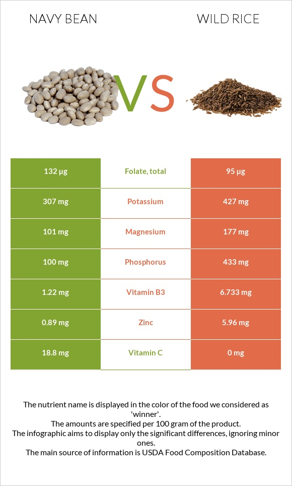 Navy bean vs Wild rice infographic