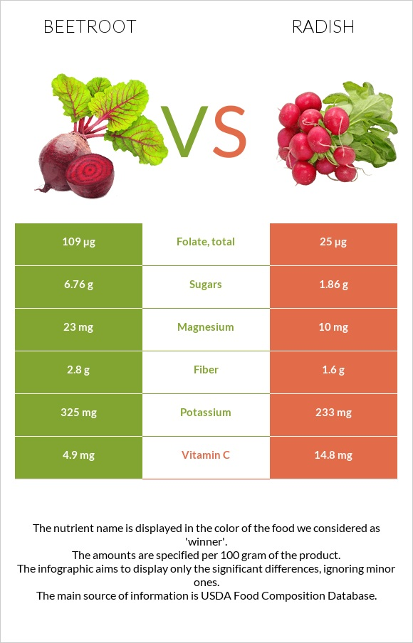 Beetroot vs Radish infographic