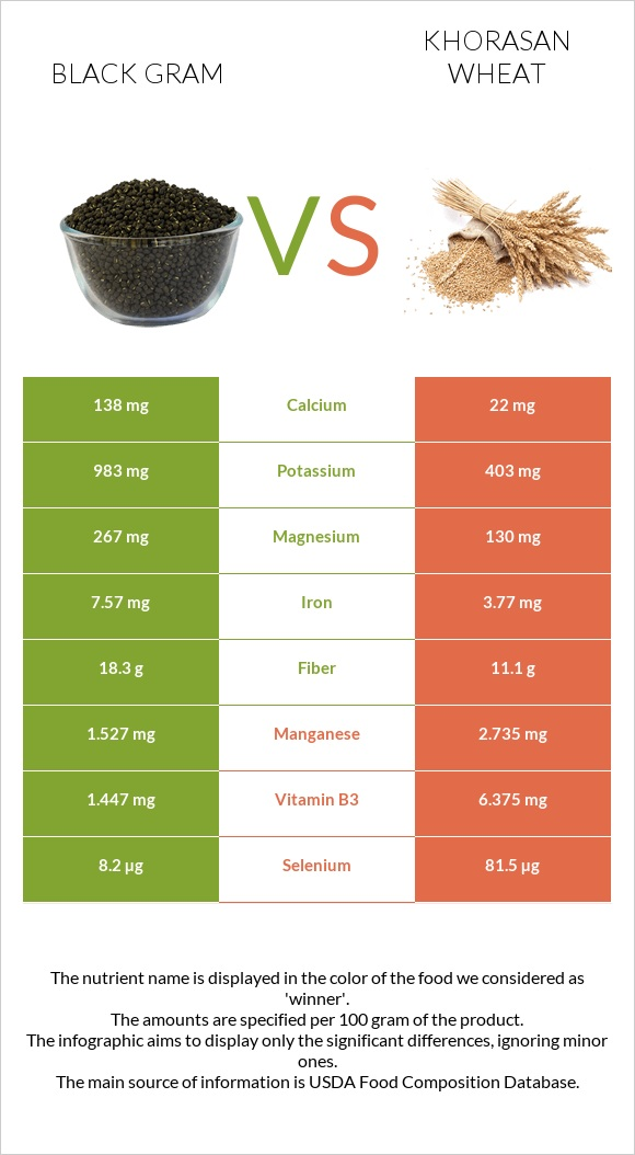 Black gram vs Khorasan wheat infographic