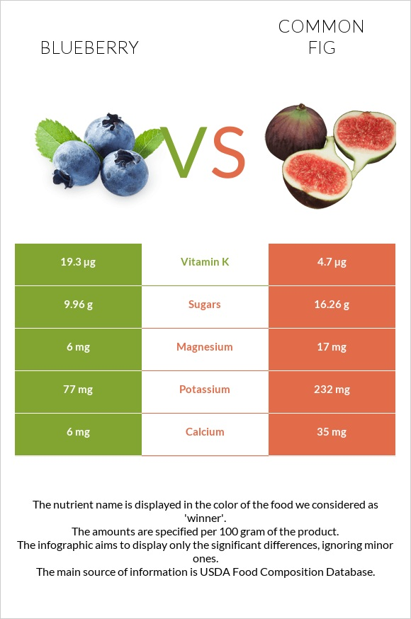 Blueberry vs Common fig infographic