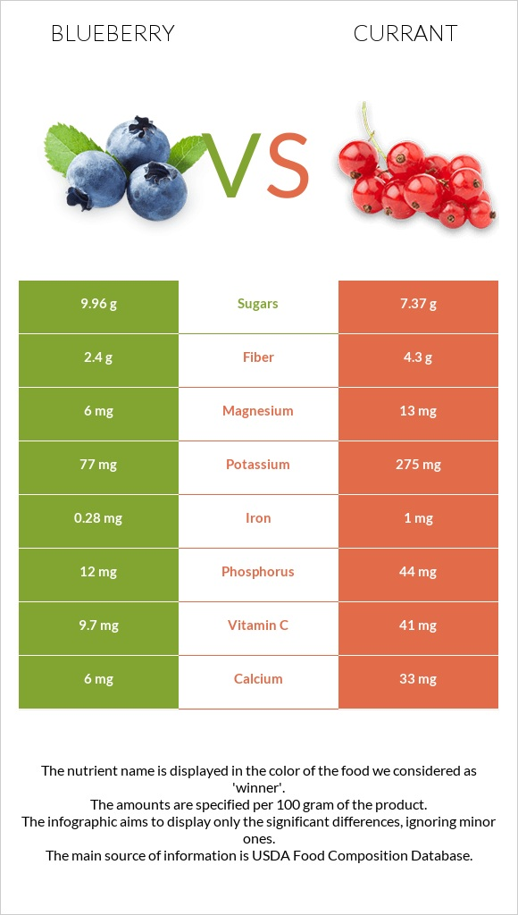 Blueberry vs Currant infographic