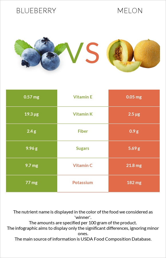 Blueberry vs Melon infographic