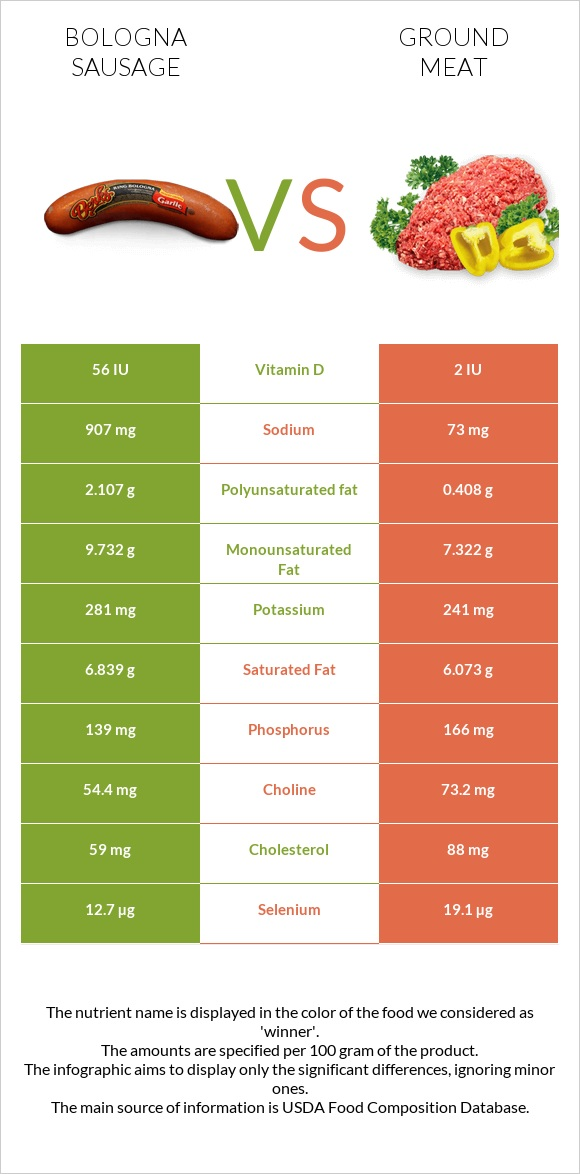 Bologna sausage vs Ground meat infographic