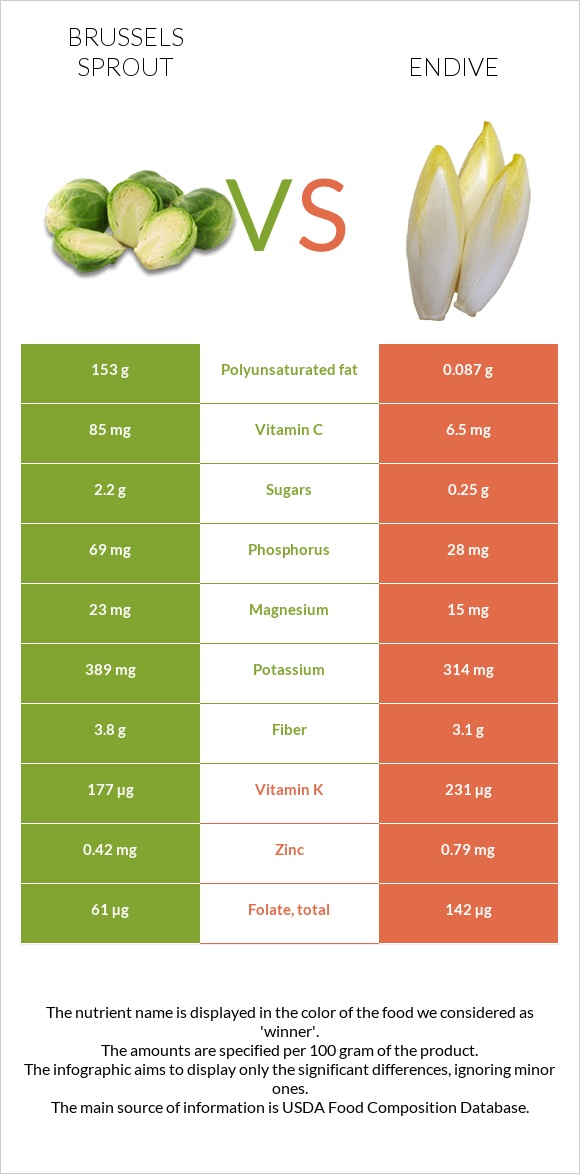Brussels sprout vs Endive infographic