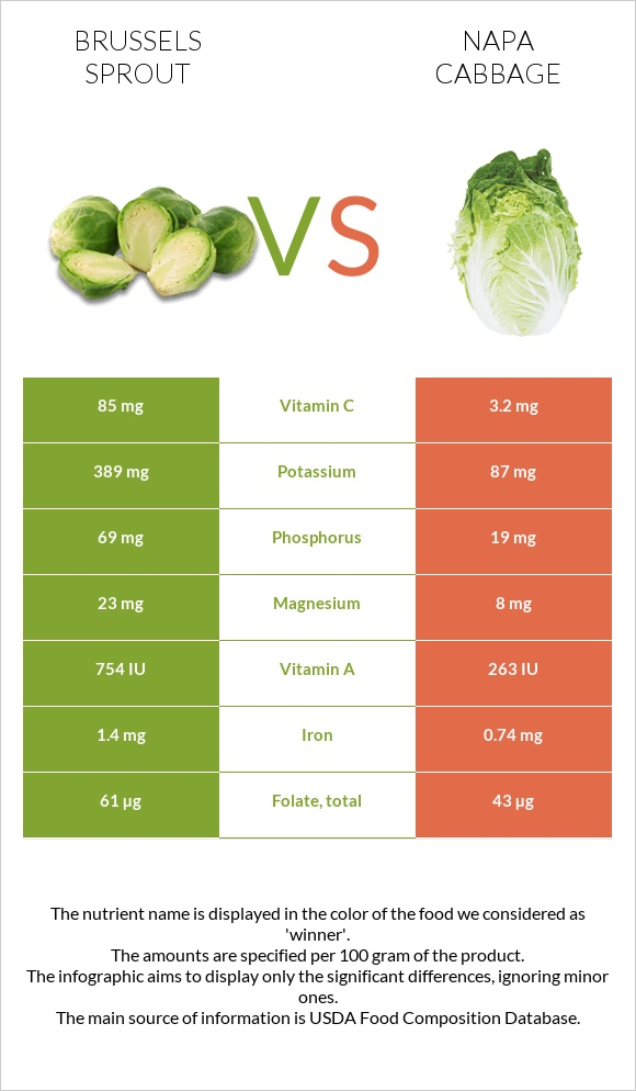 Brussels sprout vs Napa cabbage infographic