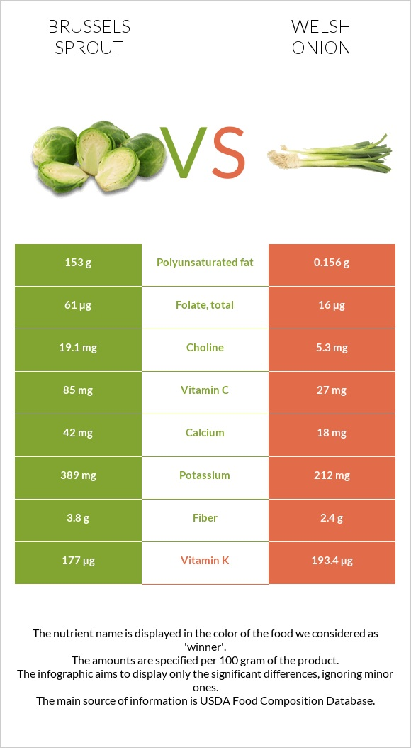 Brussels sprout vs Welsh onion infographic