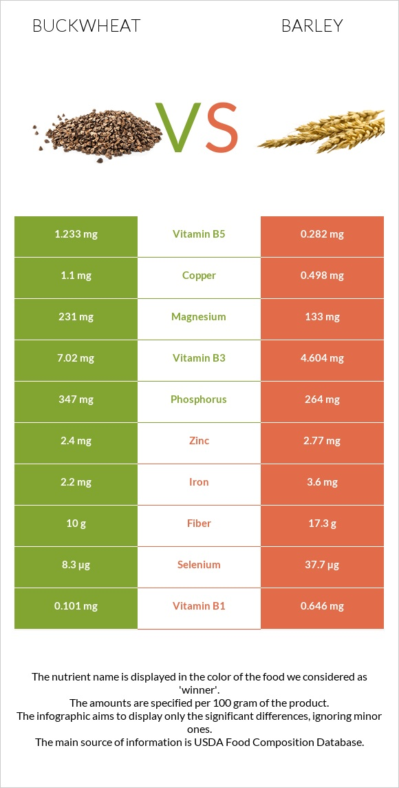 Buckwheat vs Barley infographic