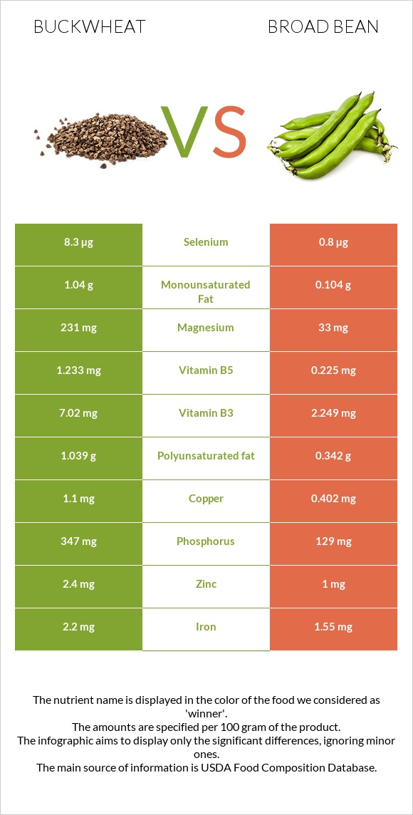 Buckwheat vs Broad bean infographic