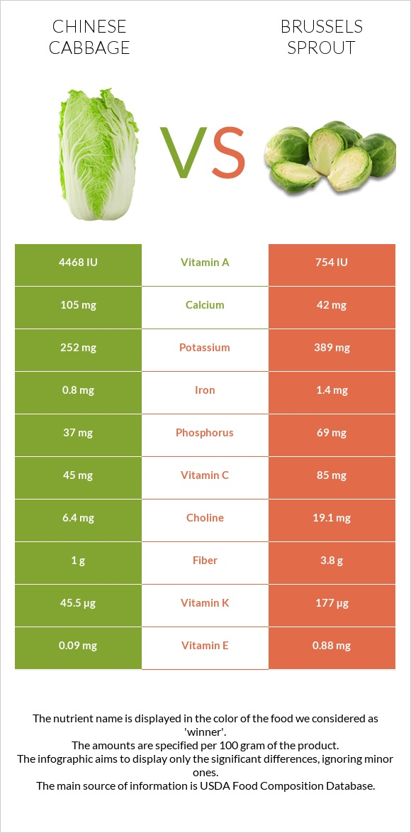 Chinese cabbage vs Brussels sprout infographic