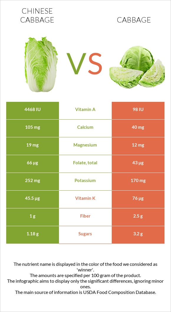 Chinese cabbage vs Cabbage infographic