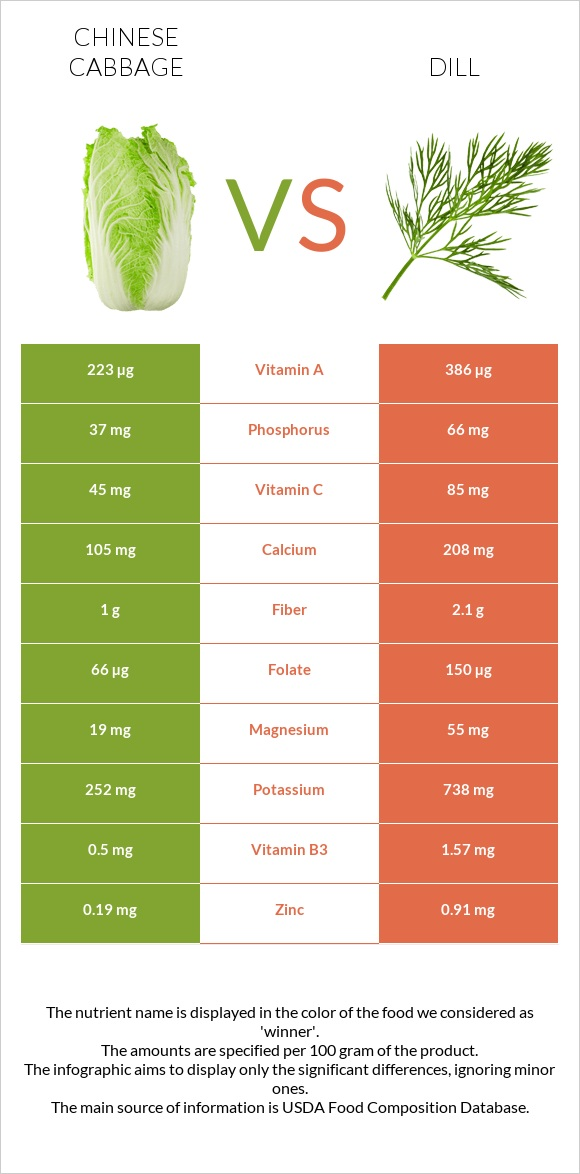 Chinese cabbage vs Dill infographic