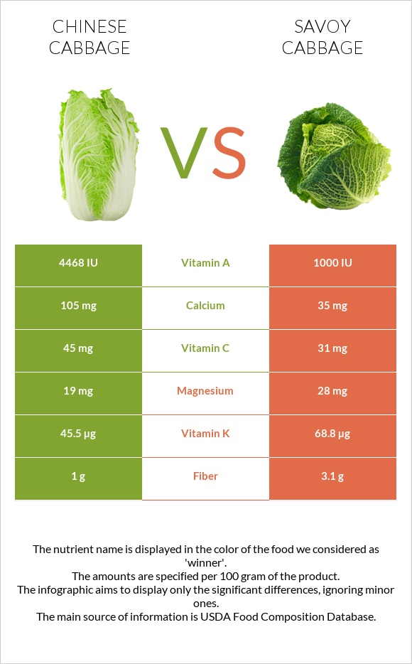 Chinese cabbage vs Savoy cabbage infographic
