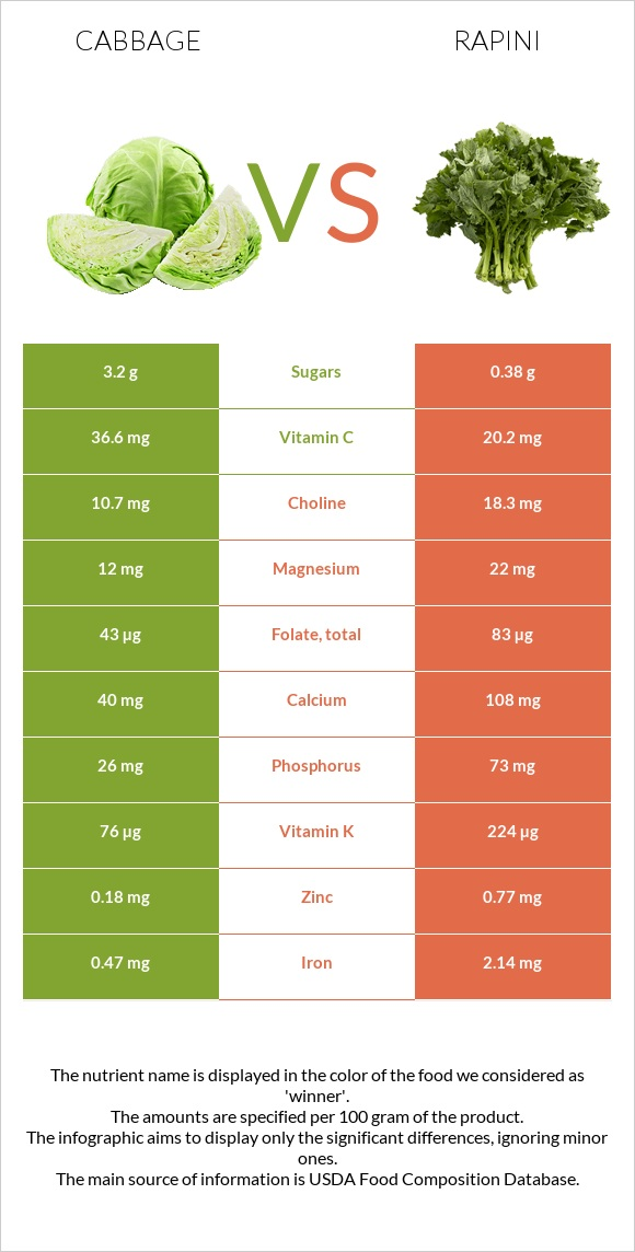 Cabbage vs Rapini infographic