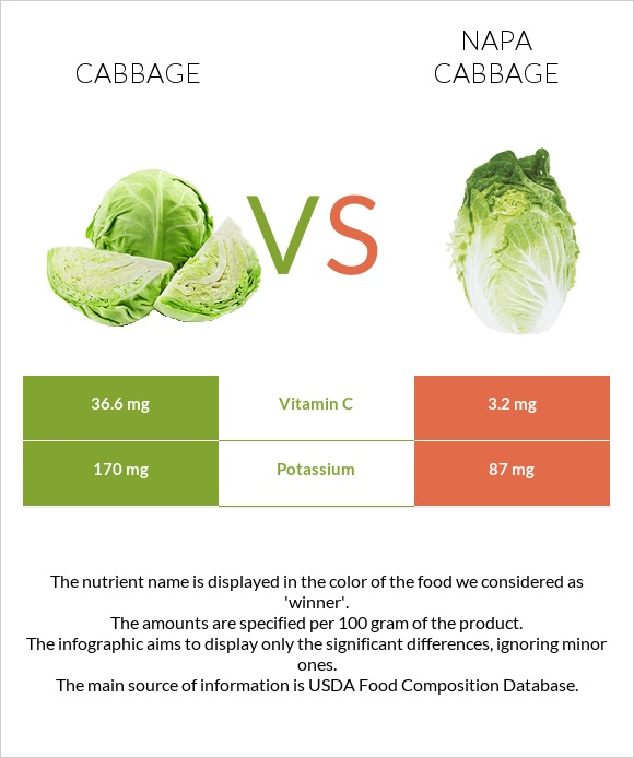 Cabbage vs Napa cabbage infographic