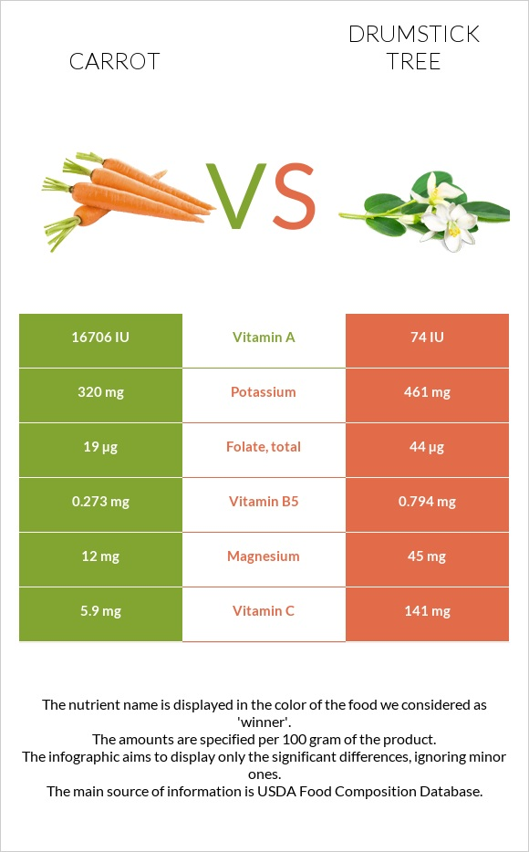 Carrot vs Drumstick tree infographic