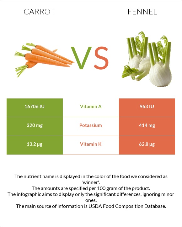 Carrot vs Fennel infographic