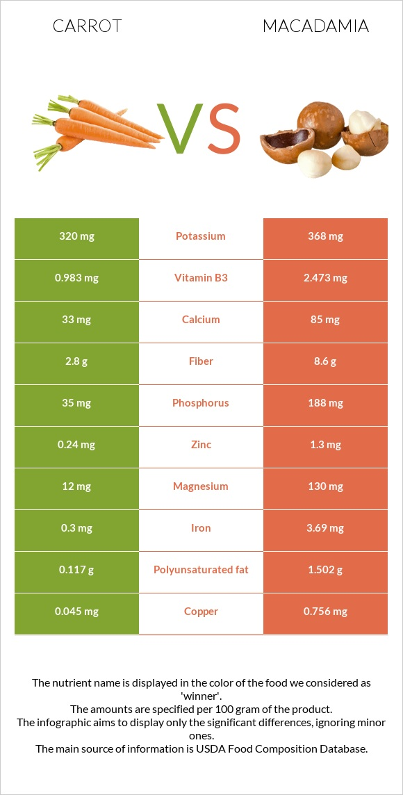 Carrot vs Macadamia infographic