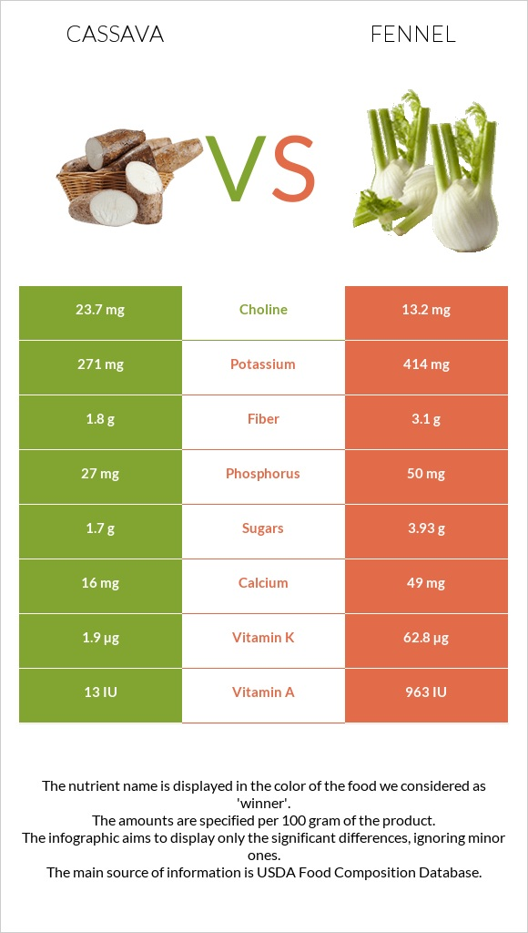 Cassava vs Fennel infographic
