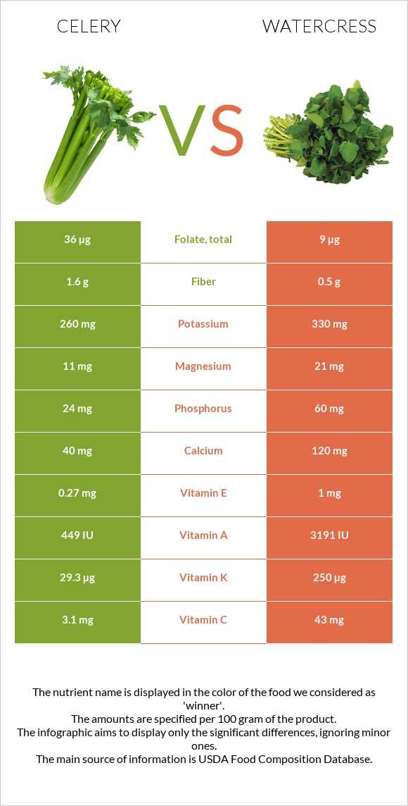 Celery vs Watercress infographic