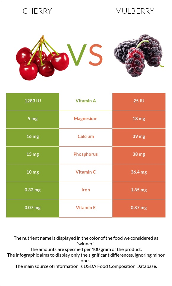Cherry vs Mulberry infographic