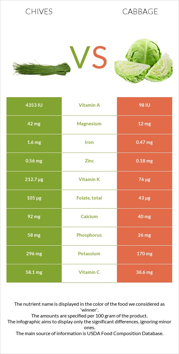 Chives vs Cabbage infographic