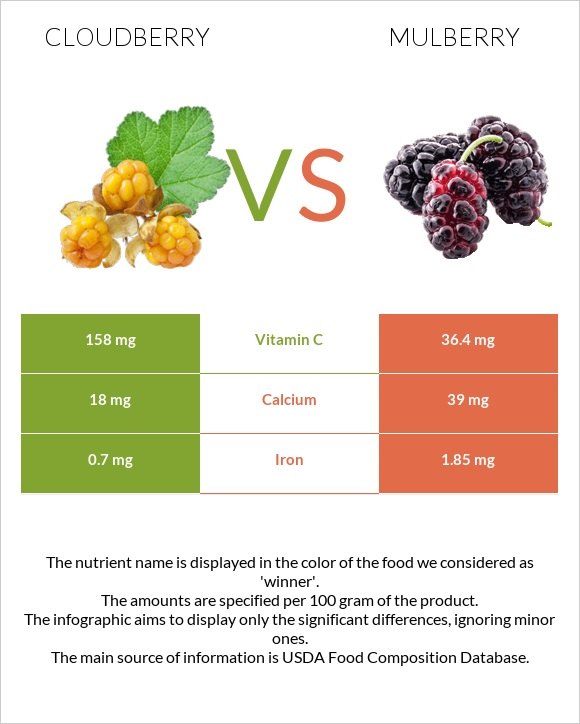 Cloudberry vs Mulberry infographic