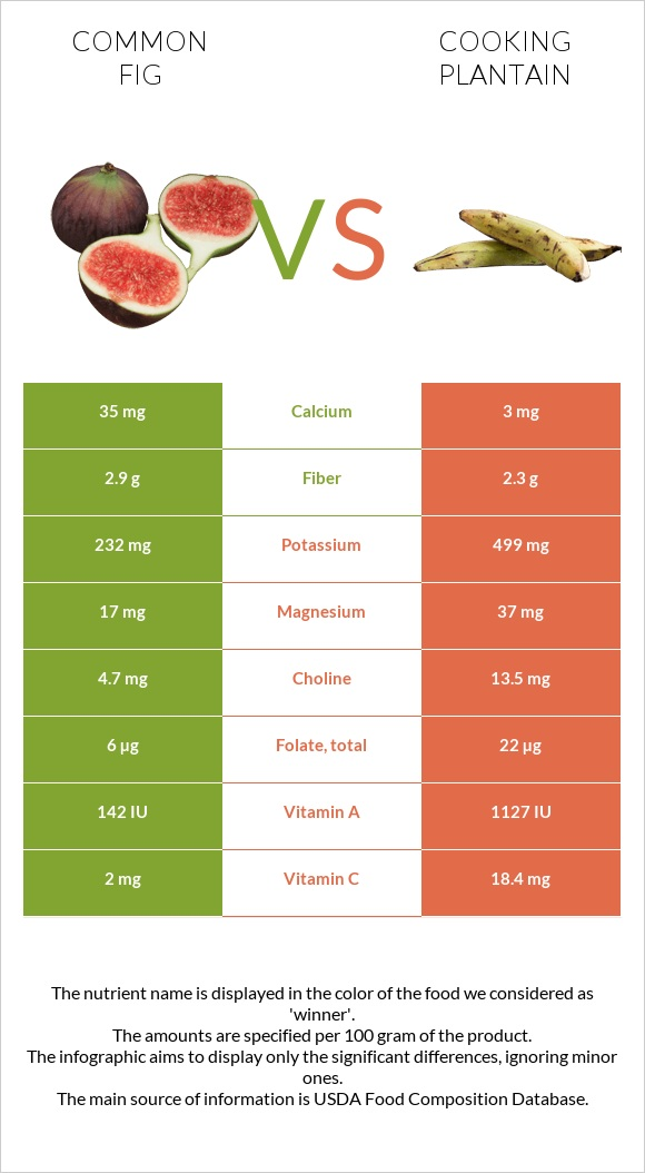 Common fig vs Cooking plantain infographic