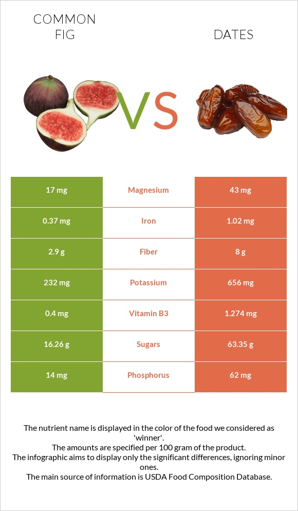 Common fig vs Date palm infographic