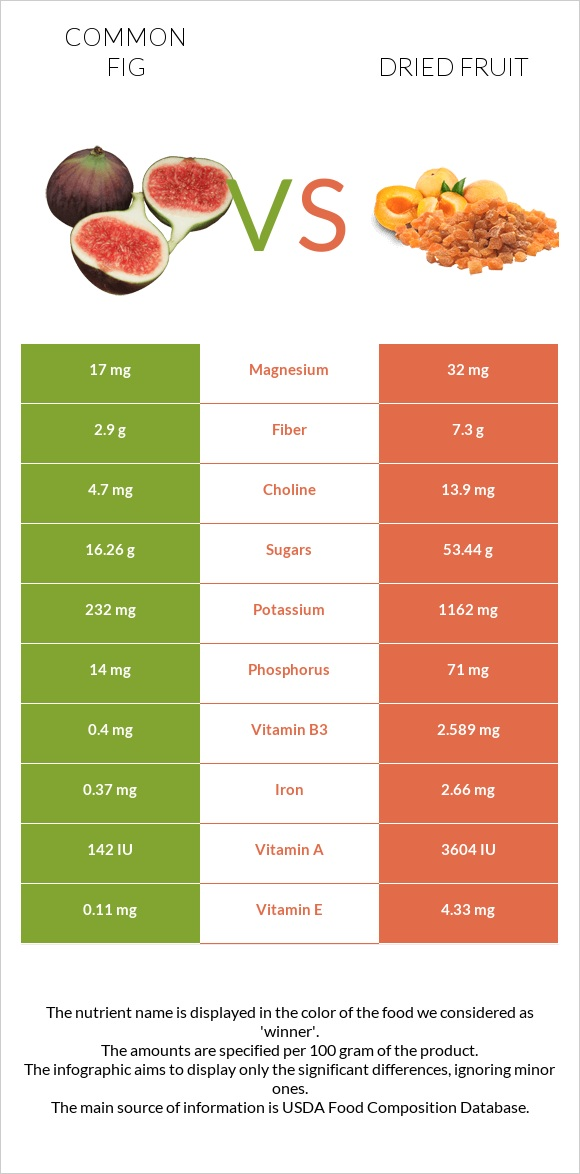 Common fig vs Dried fruit infographic