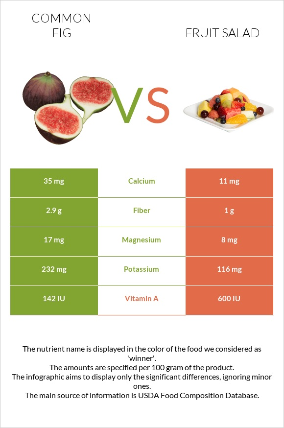Common fig vs Fruit salad infographic