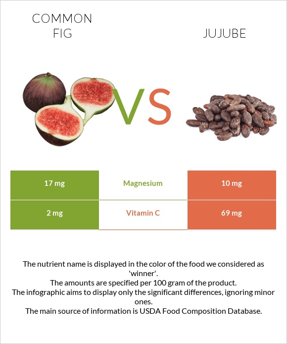 Common fig vs Jujube infographic